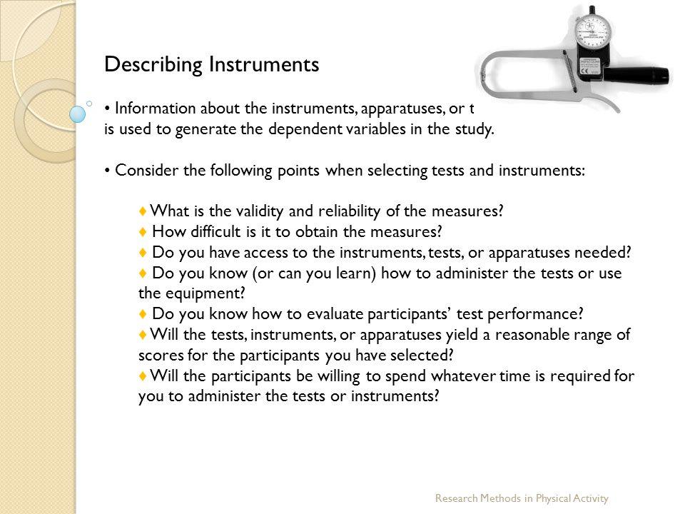 Describing Instruments