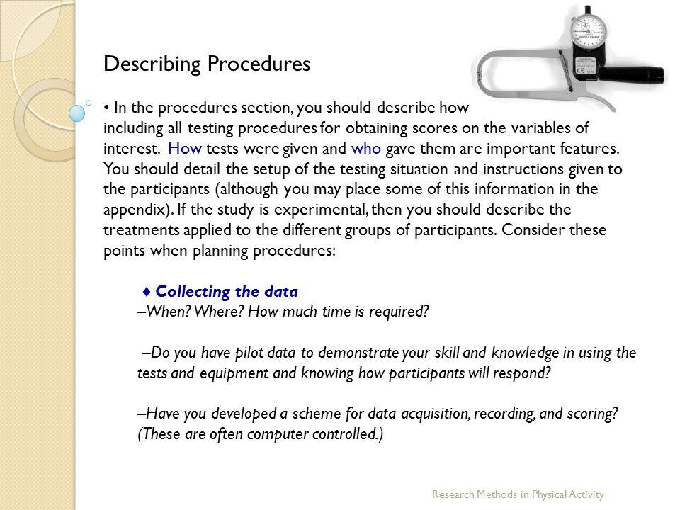 Describing Procedures