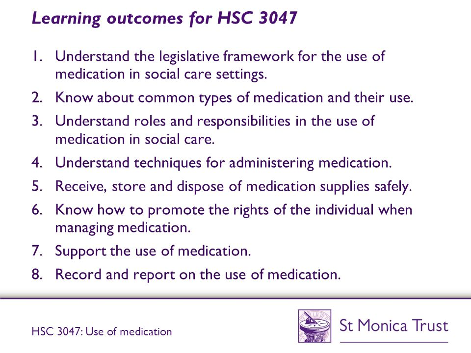 Learning outcomes for HSC 3047