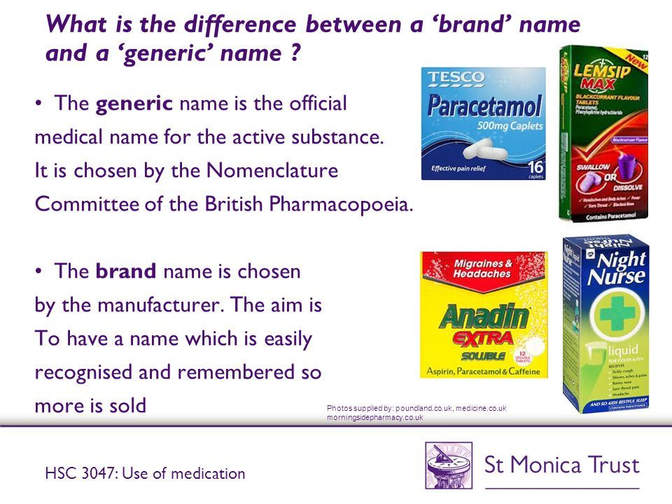 What is the difference between a 'brand' name and a 'generic' name