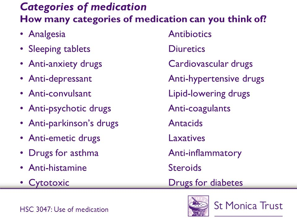 Categories of medication