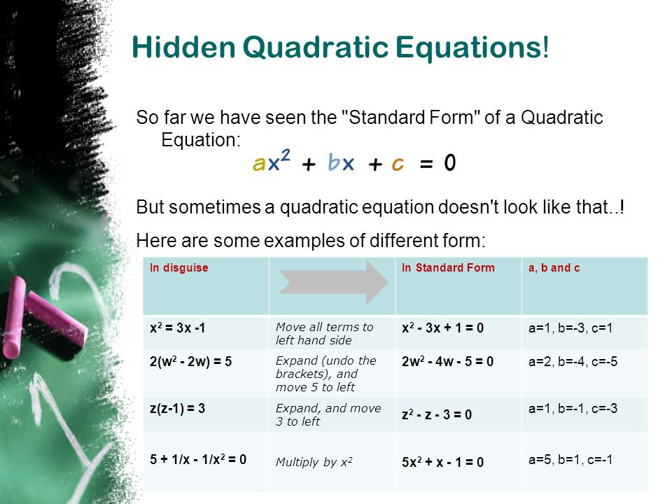 Hidden Quadratic Equations!