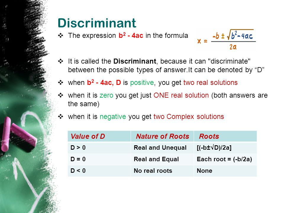 Discriminant The expression b2 - 4ac in the formula