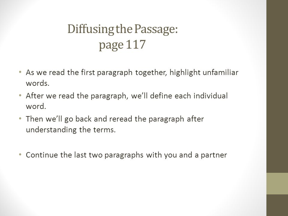Diffusing the Passage: page 117