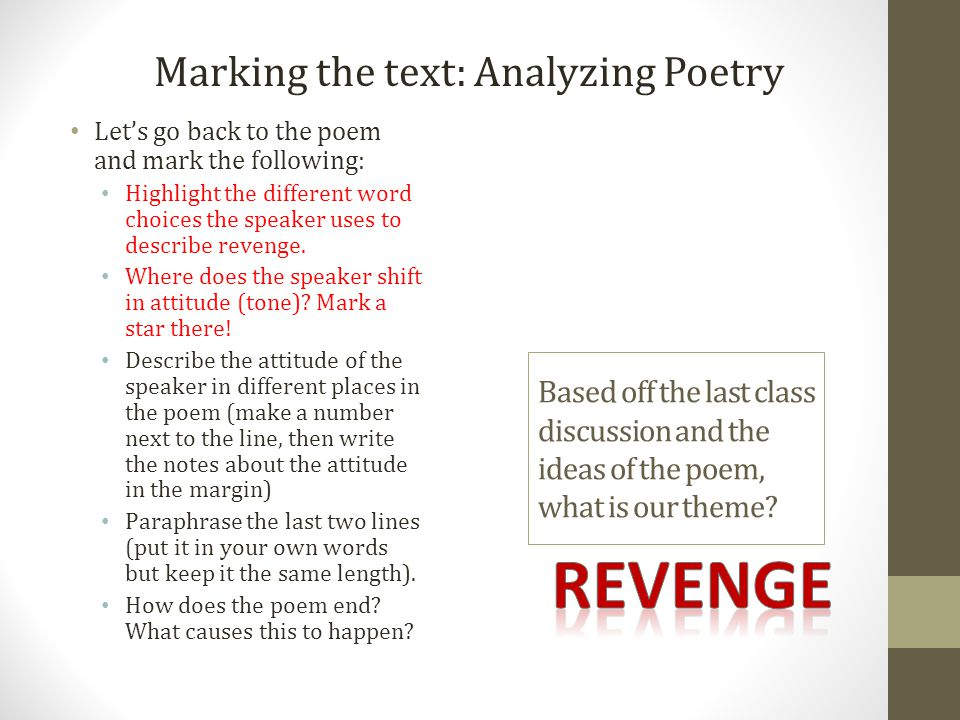 revenge Marking the text: Analyzing Poetry