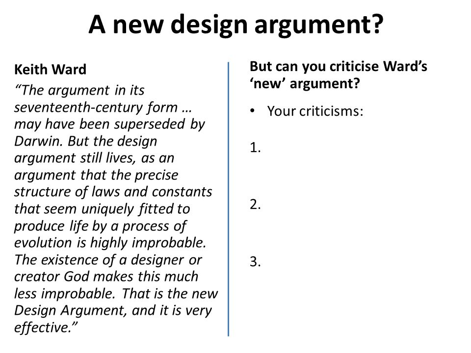 A new design argument Keith Ward