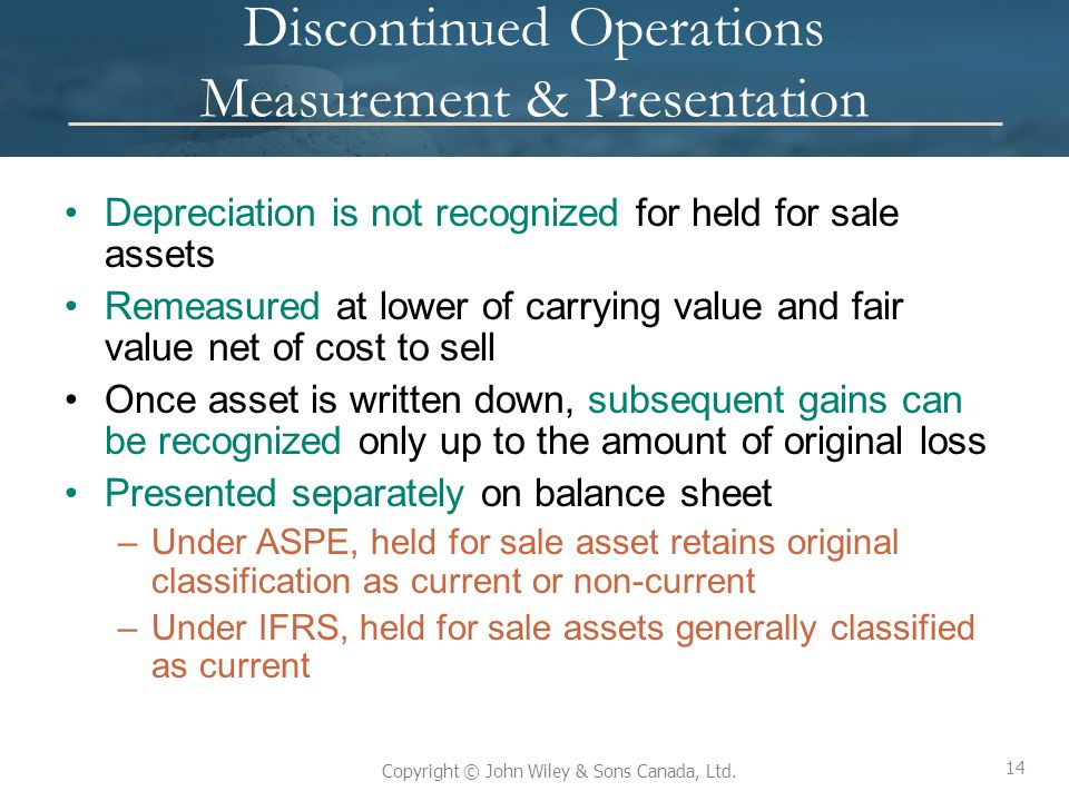 Discontinued Operations Measurement & Presentation