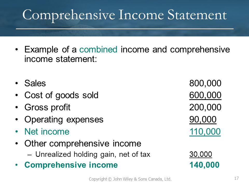 Comprehensive Income Statement