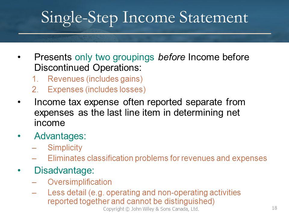 Single-Step Income Statement