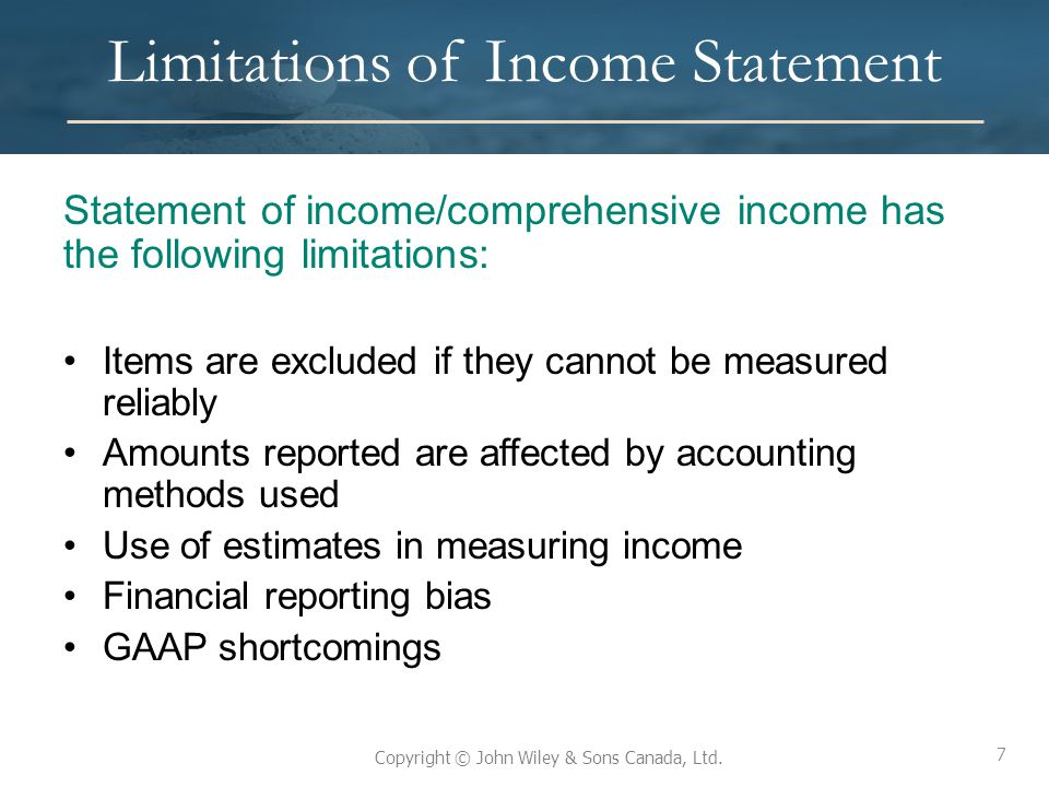 Limitations of Income Statement