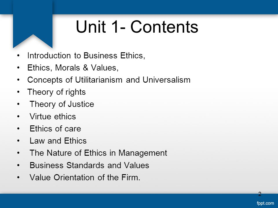 Unit 1- Contents Introduction to Business Ethics,