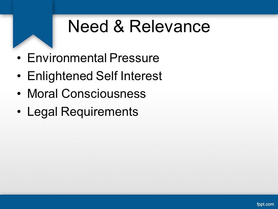 Need & Relevance Environmental Pressure Enlightened Self Interest