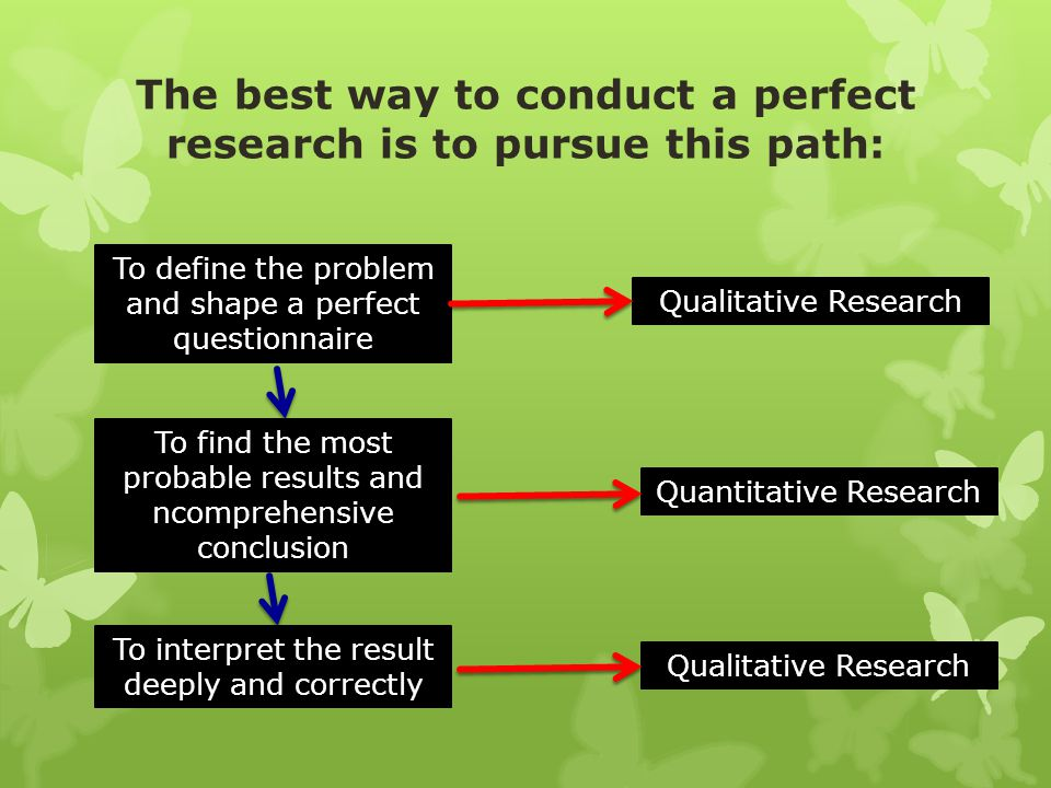 The best way to conduct a perfect research is to pursue this path: