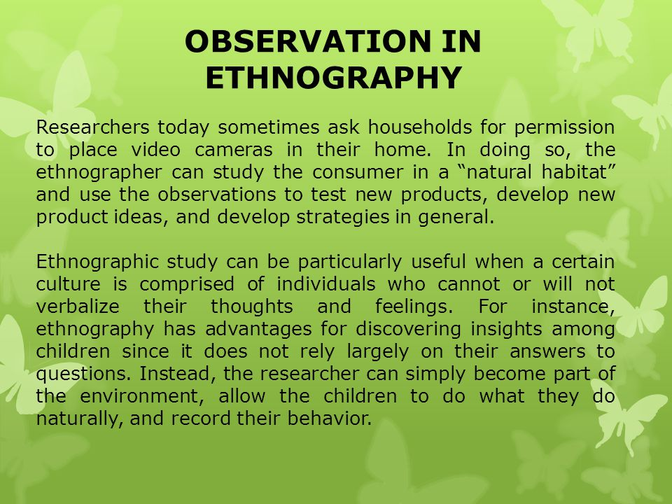 OBSERVATION IN ETHNOGRAPHY