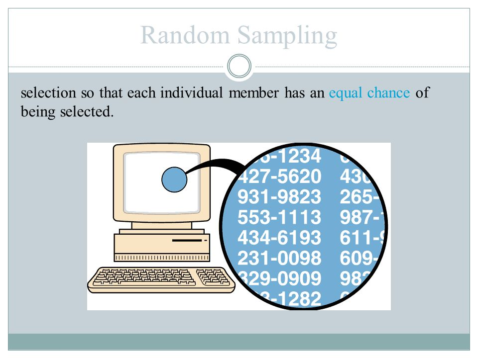 Random Sampling selection so that each individual member has an equal chance of being selected.