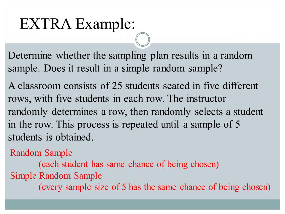 EXTRA Example: Determine whether the sampling plan results in a random sample. Does it result in a simple random sample