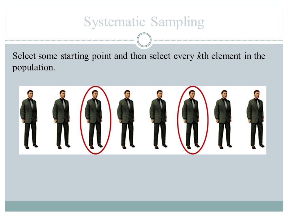 Systematic Sampling Select some starting point and then select every kth element in the population.