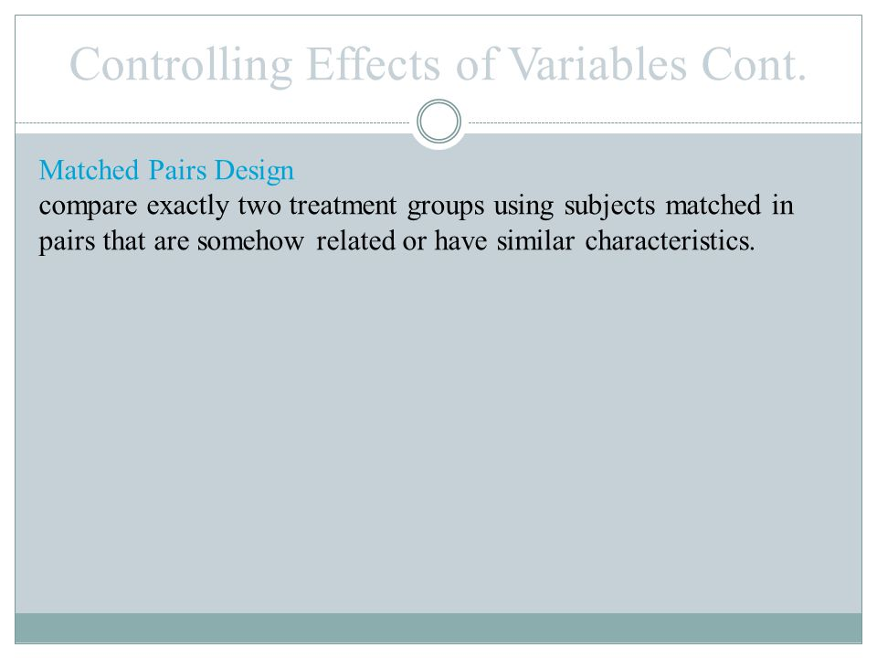 Controlling Effects of Variables Cont.