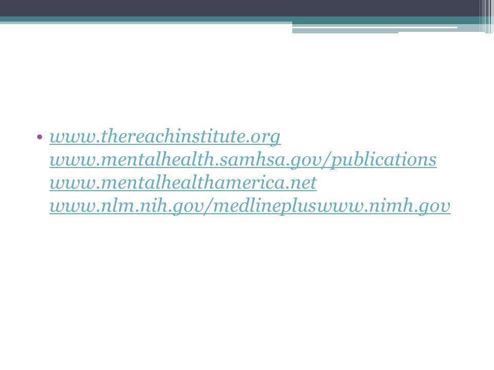 www. thereachinstitute. org www. mentalhealth. samhsa