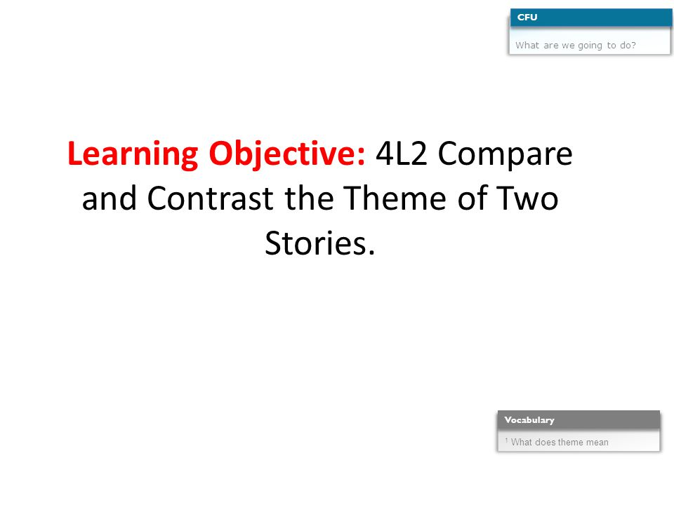 Learning Objective: 4L2 Compare and Contrast the Theme of Two Stories.