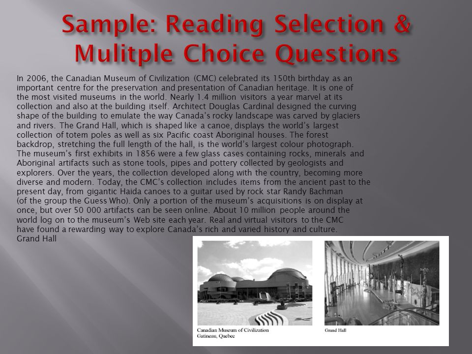 Sample: Reading Selection & Mulitple Choice Questions