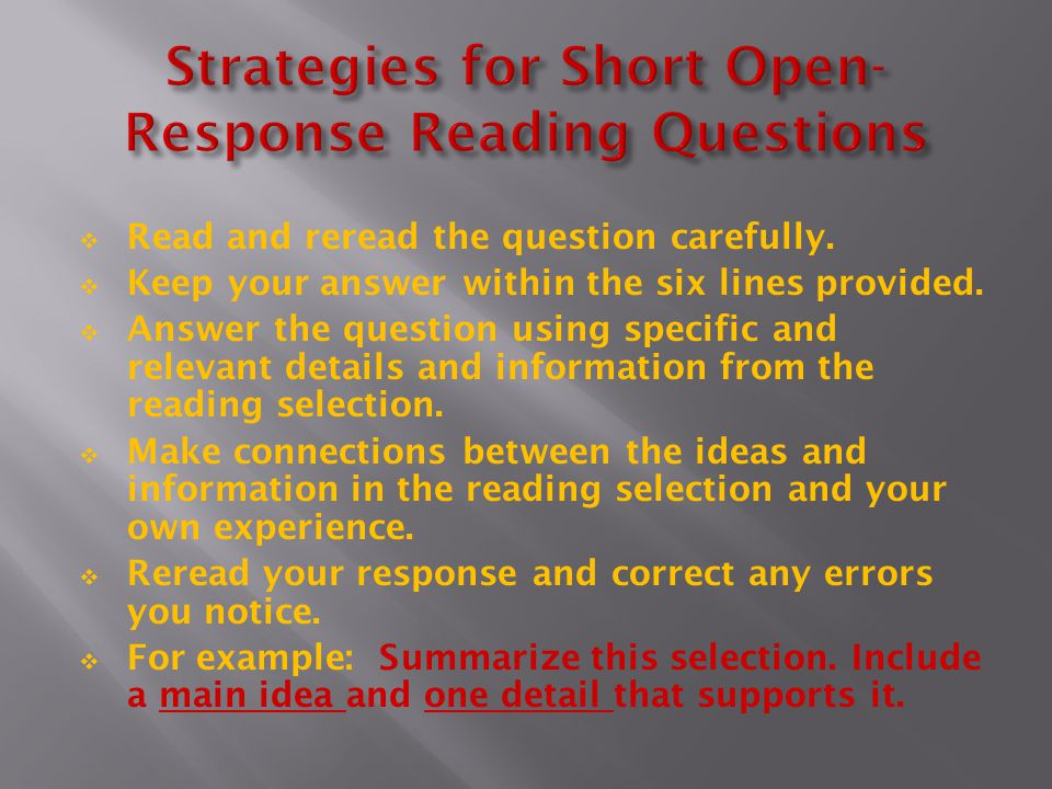 Strategies for Short Open-Response Reading Questions