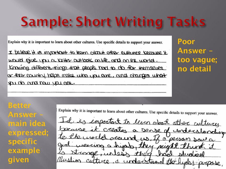 Sample: Short Writing Tasks