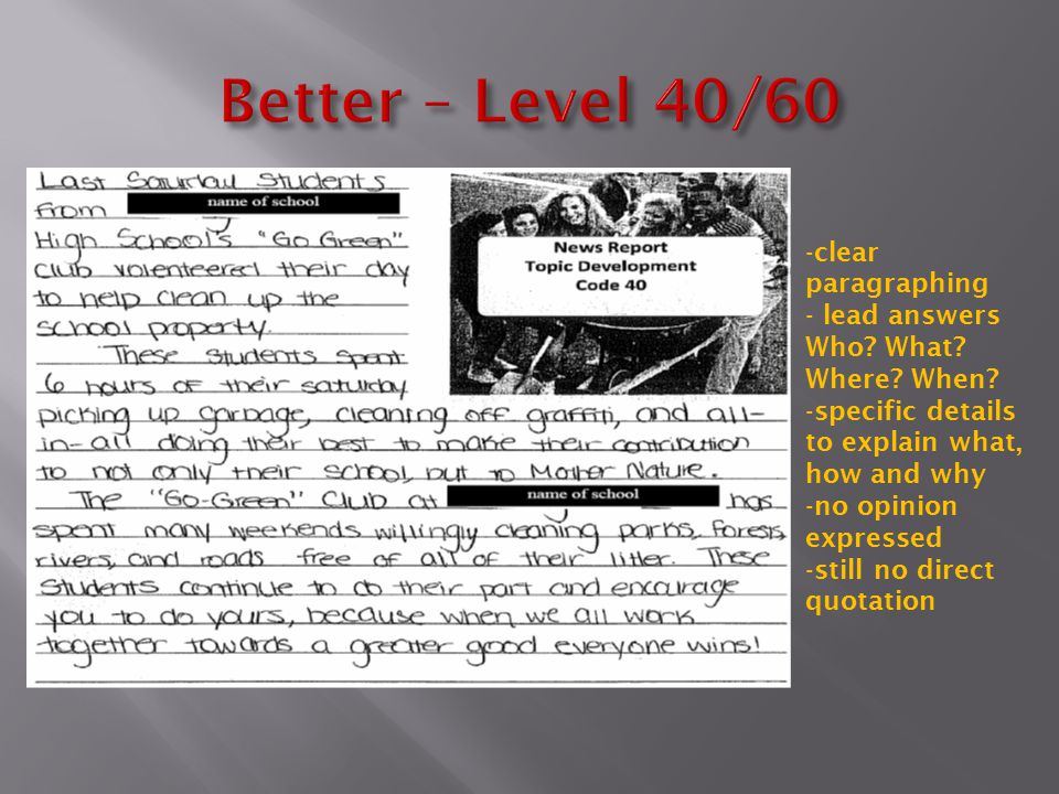 Better – Level 40/60 clear paragraphing