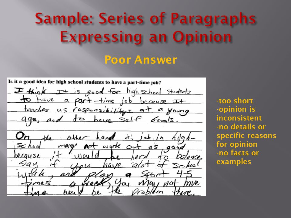 Sample: Series of Paragraphs Expressing an Opinion
