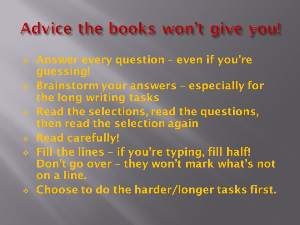 Advice the books won't give you!
