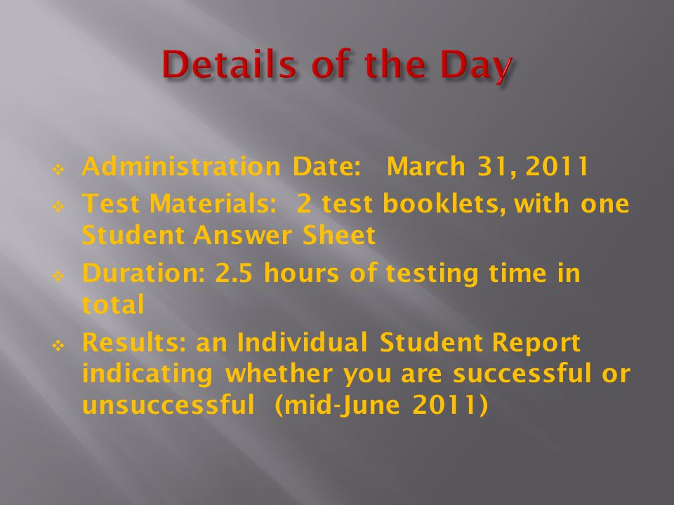Details of the Day Administration Date: March 31, 2011