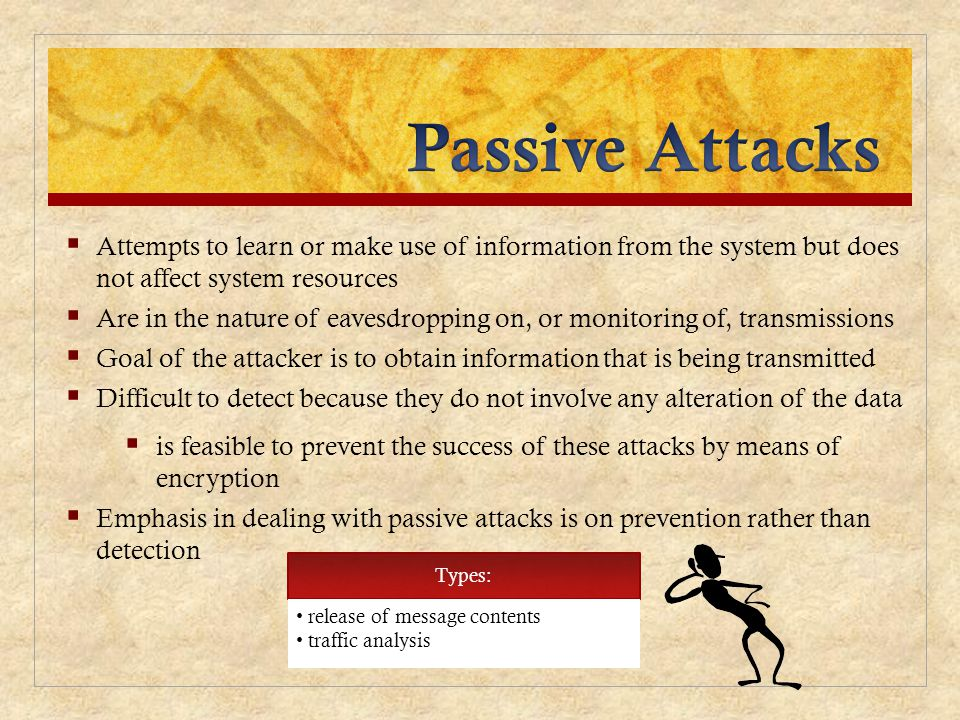 Passive Attacks Attempts to learn or make use of information from the system but does not affect system resources.
