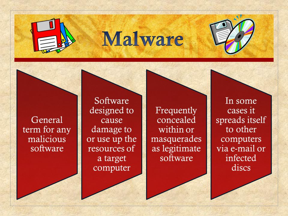 Malware General term for any malicious software