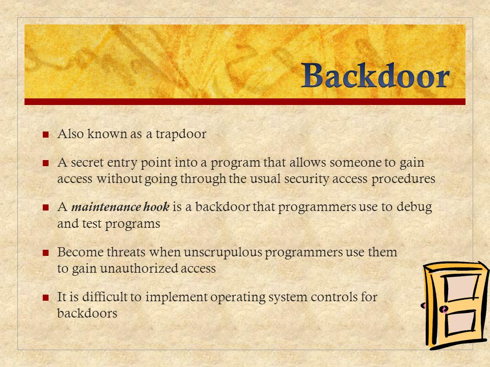 Backdoor Also known as a trapdoor