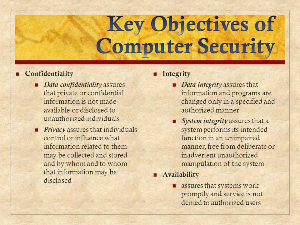 Key Objectives of Computer Security