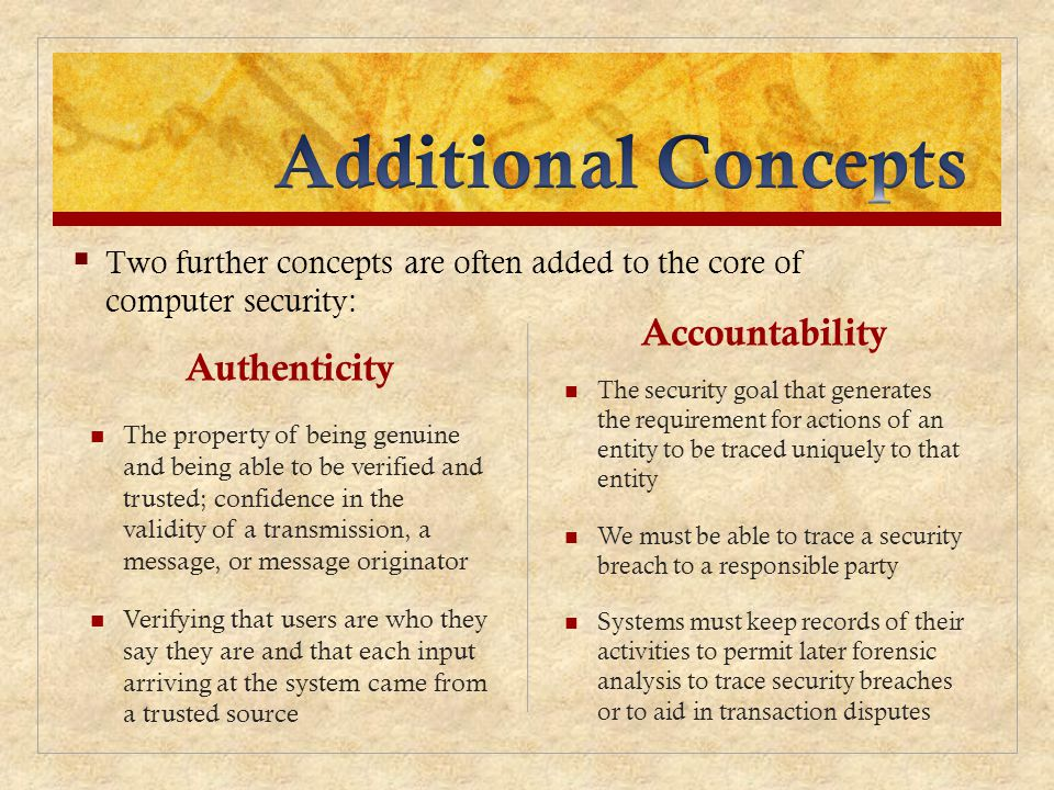 Additional Concepts Accountability Authenticity