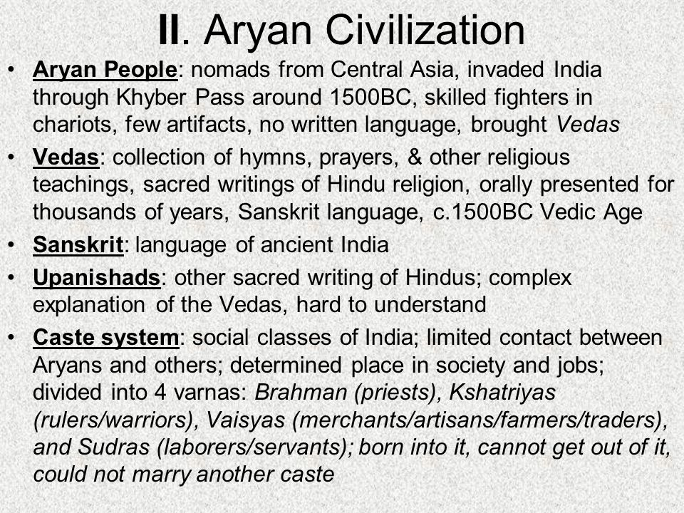 II. Aryan Civilization
