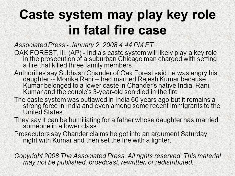 Caste system may play key role in fatal fire case