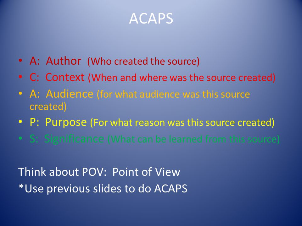 ACAPS A: Author (Who created the source)