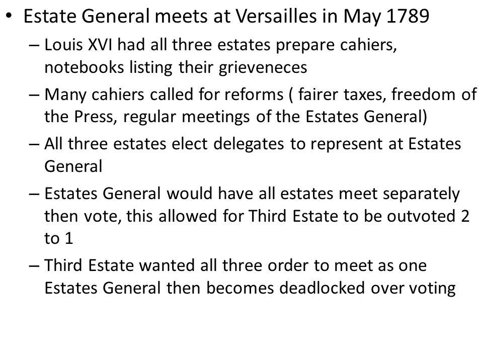 Estate General meets at Versailles in May 1789