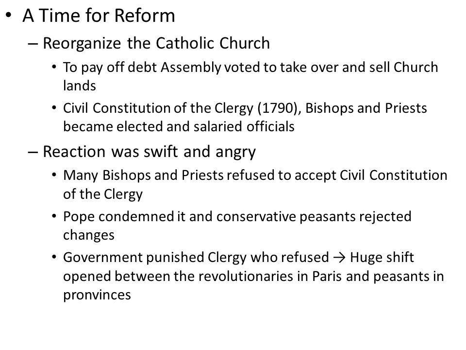 A Time for Reform Reorganize the Catholic Church