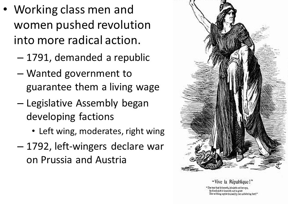 Working class men and women pushed revolution into more radical action.