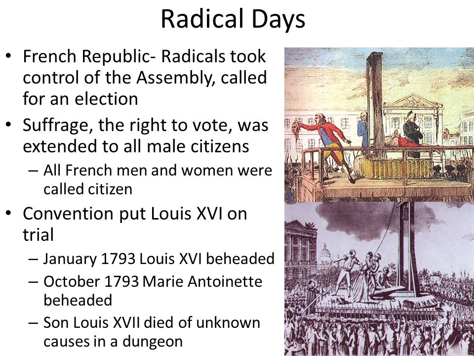 Radical Days French Republic- Radicals took control of the Assembly, called for an election.