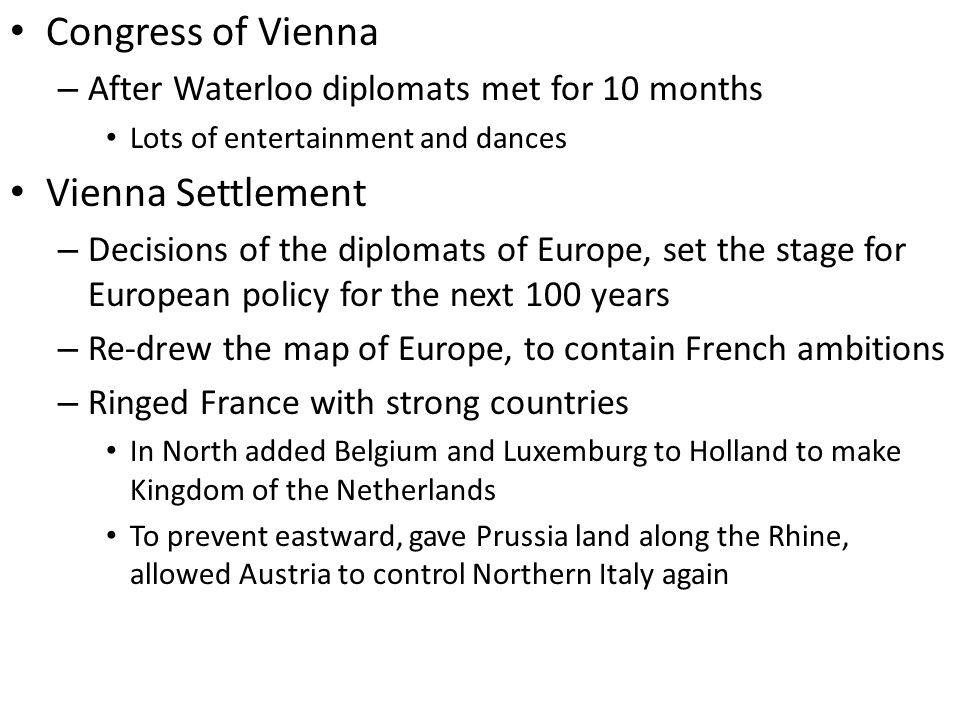Congress of Vienna Vienna Settlement