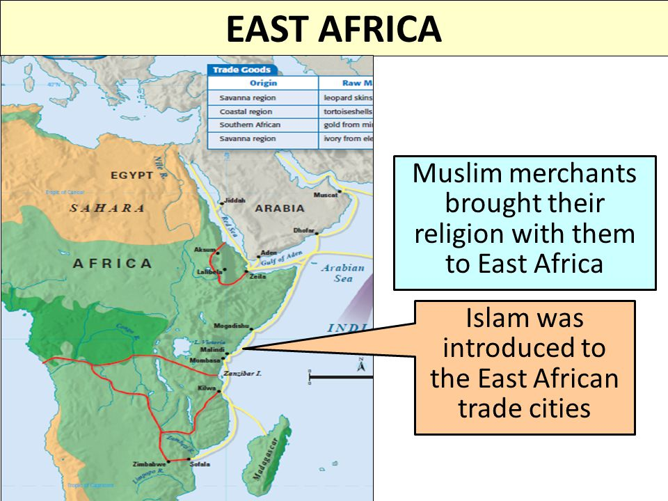 EAST AFRICA Muslim merchants brought their religion with them to East Africa.