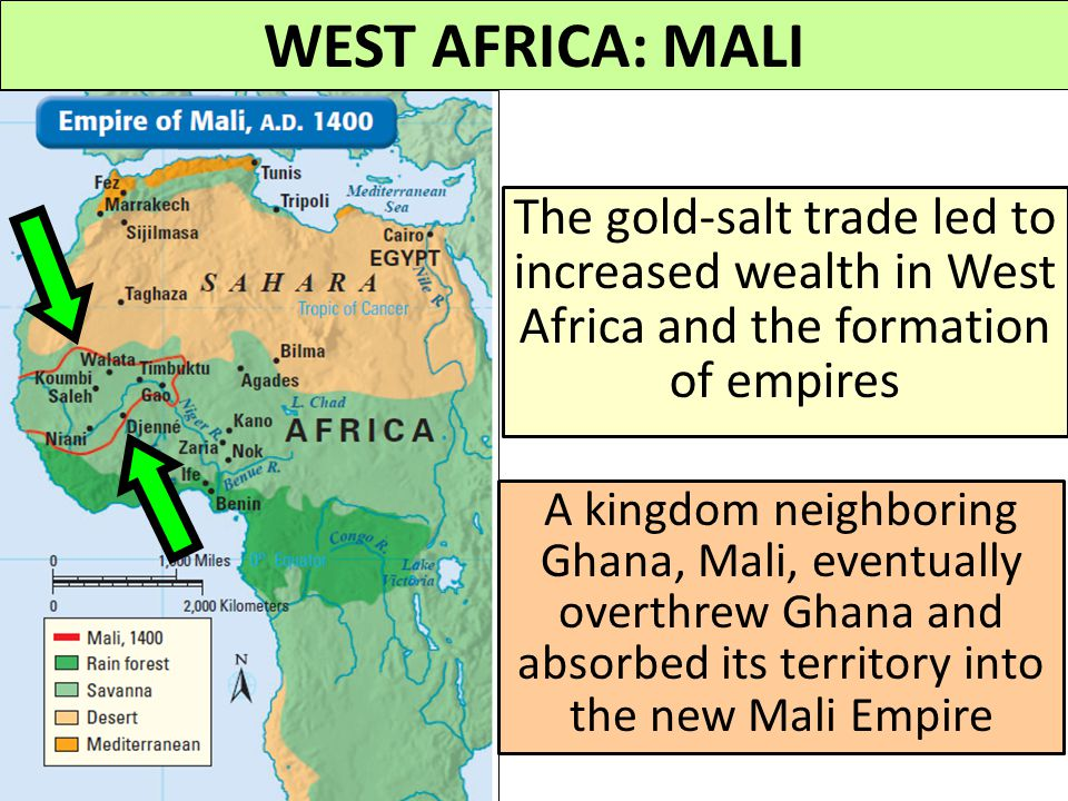 WEST AFRICA: MALI The gold-salt trade led to increased wealth in West Africa and the formation of empires.