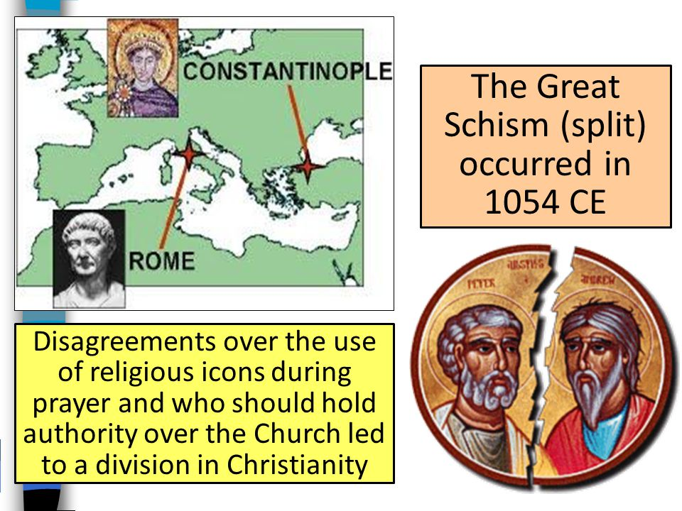 The Great Schism (split) occurred in 1054 CE