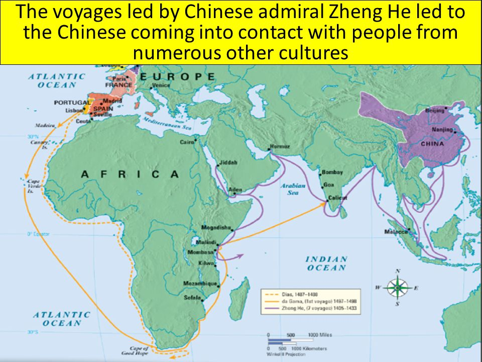 The voyages led by Chinese admiral Zheng He led to the Chinese coming into contact with people from numerous other cultures