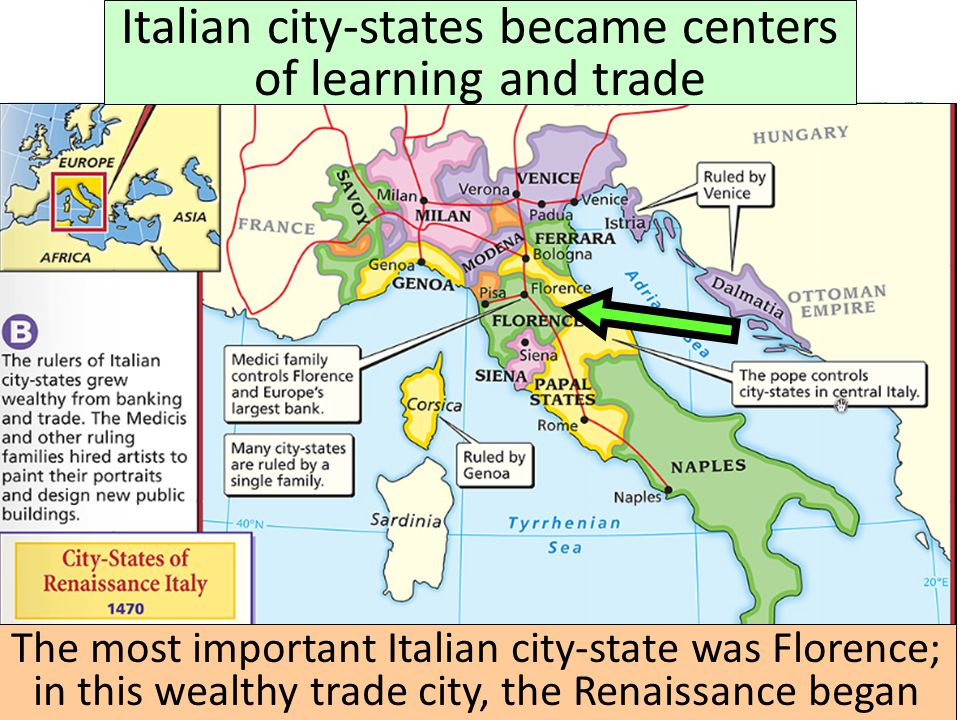 Italian city-states became centers of learning and trade