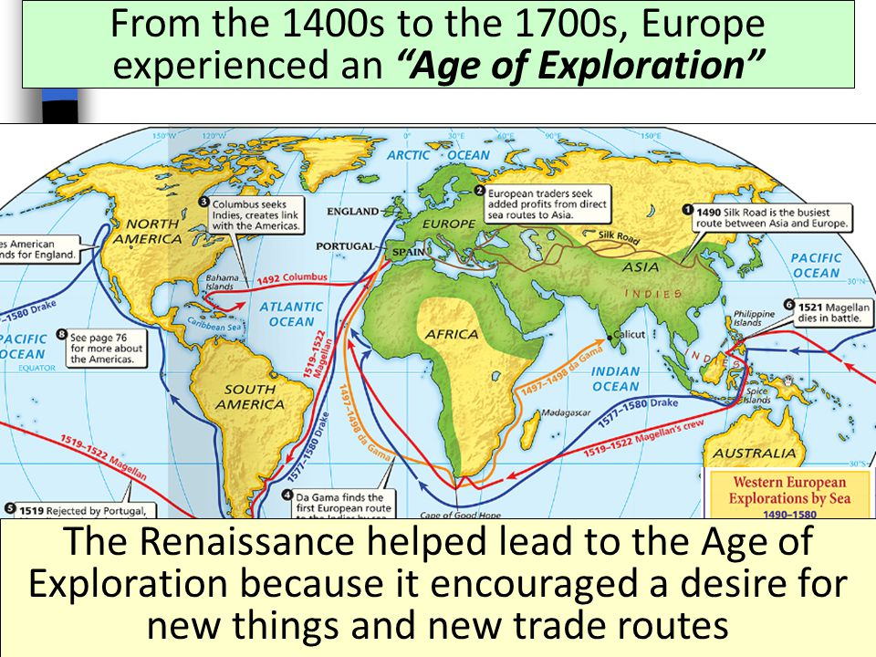 From the 1400s to the 1700s, Europe experienced an Age of Exploration